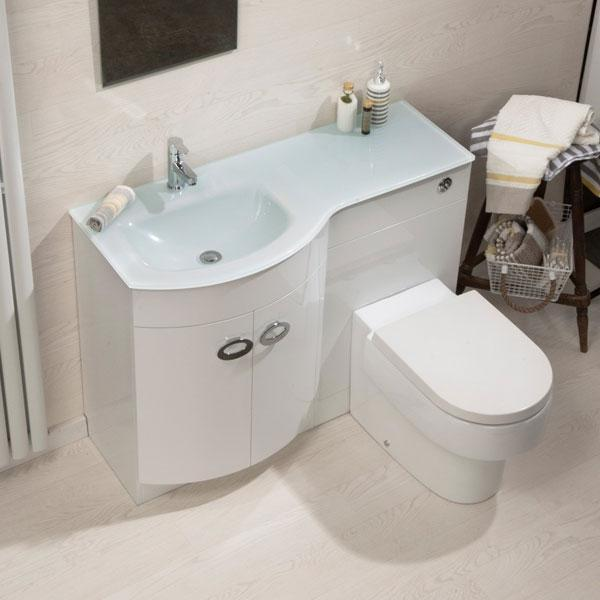 Cassellie Pebble D-Shaped Combination Unit with White Glass Style Basin - 1100mm Wide - Left Handed