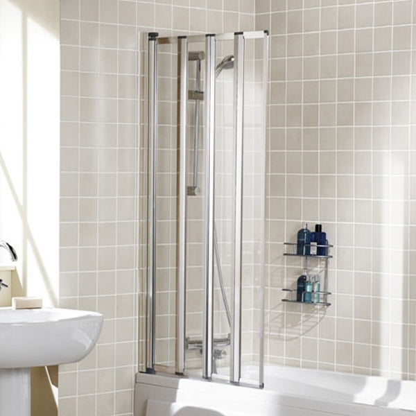 Lakes Four Panel Framed Bath Screen - 730mm - White - Clear Glass ...