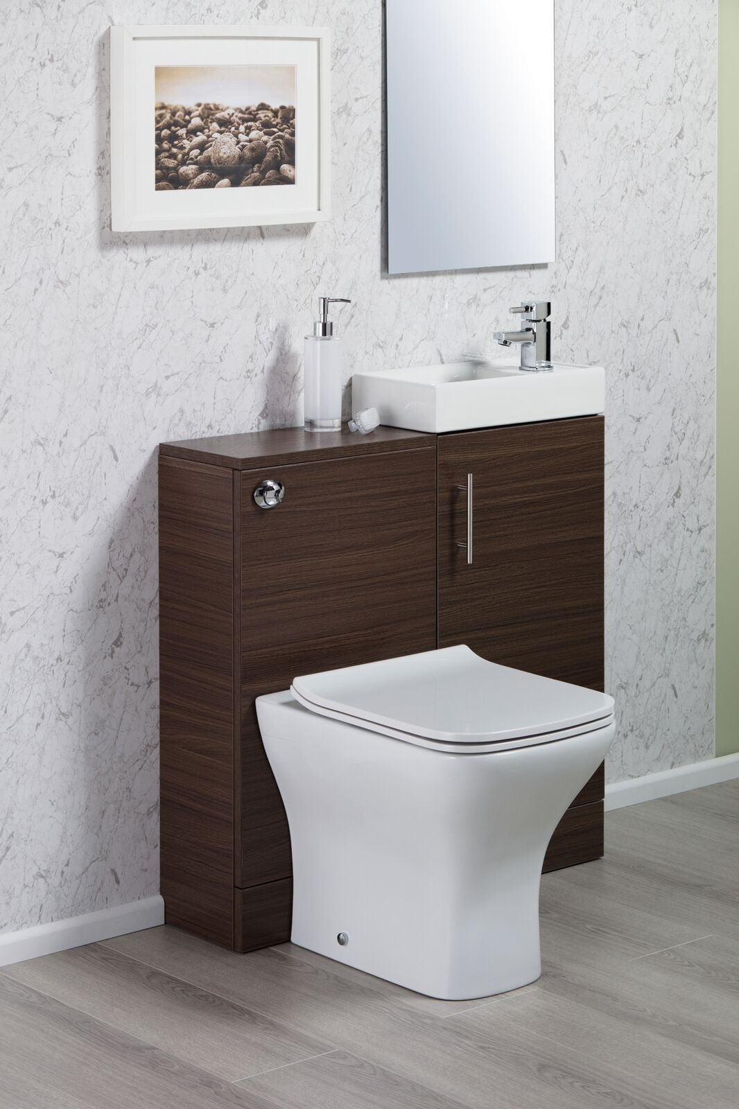 Cassellie Cube WC Unit - 410mm Wide - Walnut