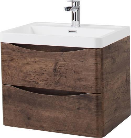 Cassellie Bali 2-Drawers Wall Hung Vanity Unit with Basin - 600mm Wide - Chestnut