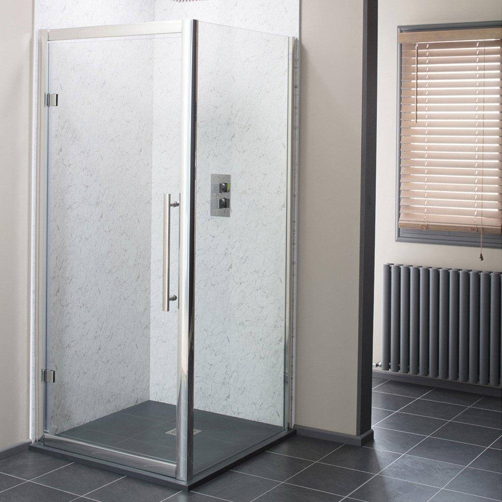Cassellie Cass Eight Hinged Shower Door 900mm Wide - 8mm Glass