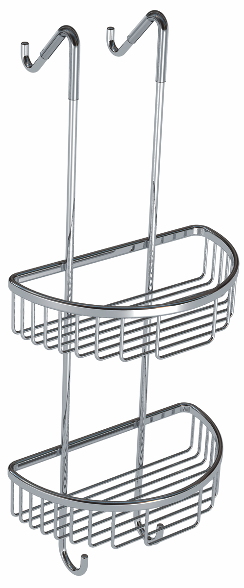 Cassellie Double Corner Wire Wall Hung D-Shaped Soap Basket - Chrome