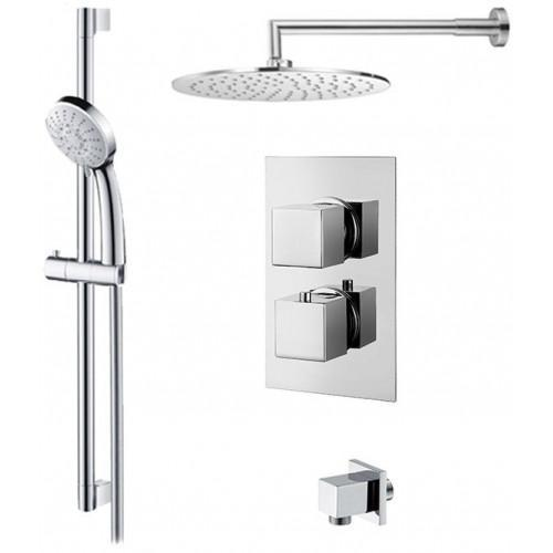 Abacus Emotion Thermo Square  Round Overhead & Round Hand Shower