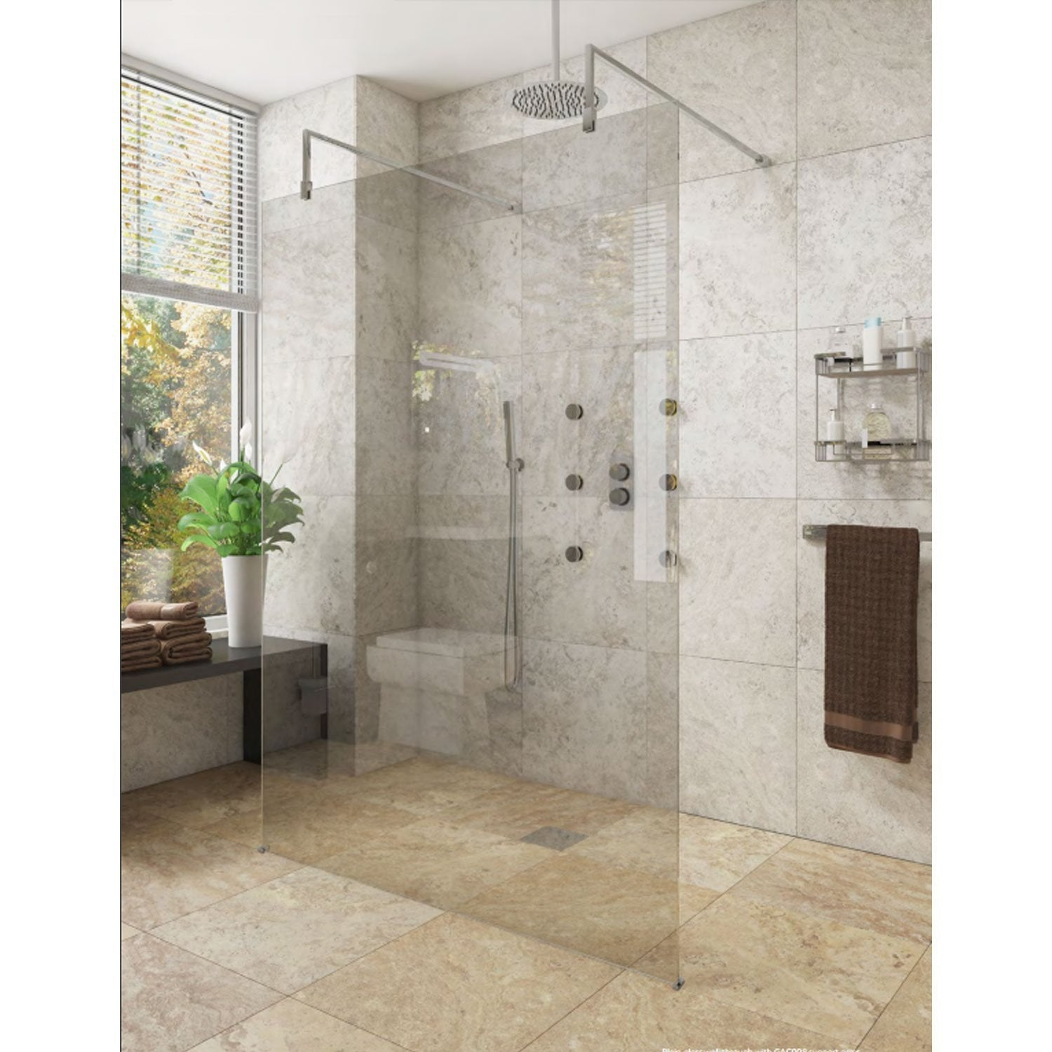Cassellie Marna Wet Room Screen 1850mm High x 700mm Wide - 8mm Glass
