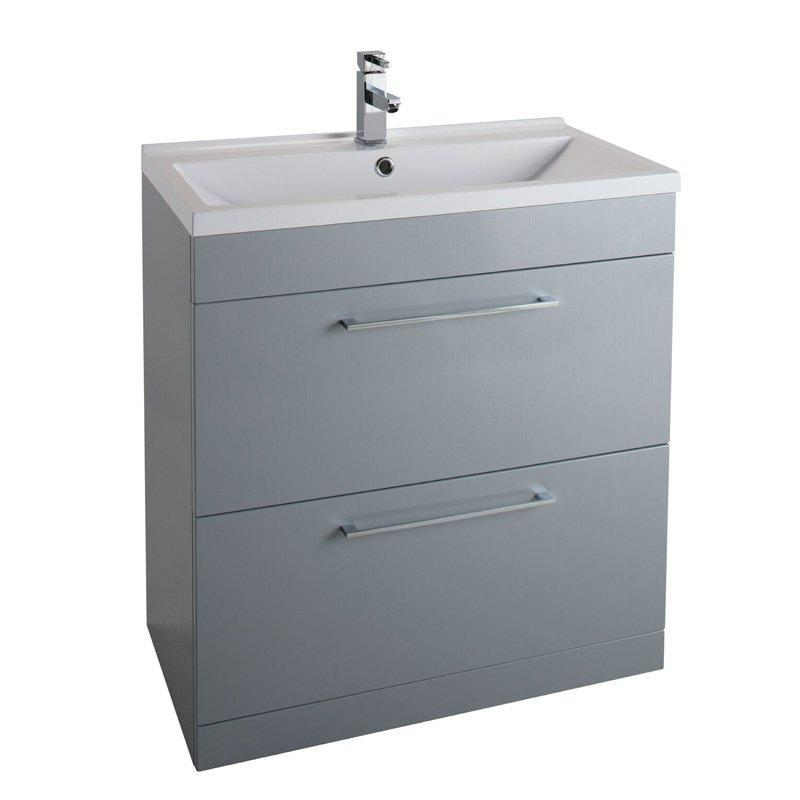 Cassellie Idon 2-Drawers Vanity Unit with Mid-Edge Basin - 600mm Wide - Gloss Grey
