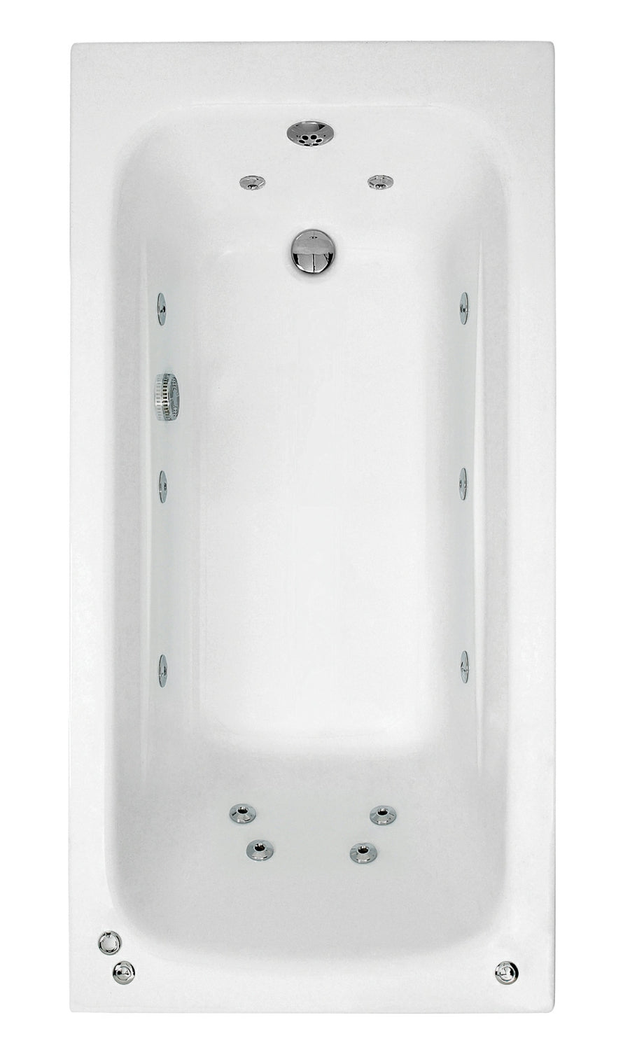 Phoenix Crystal - Single Ended Whirlpool Bath 1600 x 700mm - System 1 - BH063S1
