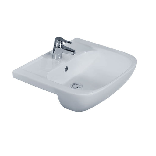 Essential FUCHSIA Semi Recessed Basin Only, 550mm Wide, 1 Tap Hole, White