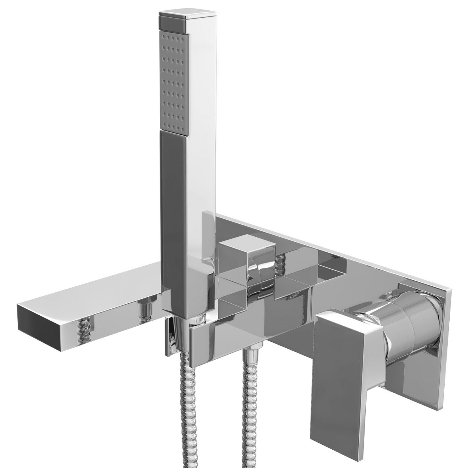 Cassellie Form Wall Mounted Bath Shower Mixer Tap - Chrome