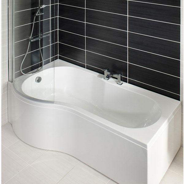 Cassellie Tempest P-Shaped Shower Bath Enclosure - 1500mm x 700mm-850mm - Left Handed