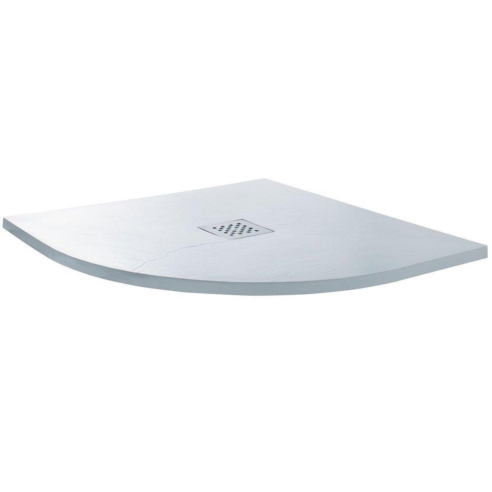 Cassellie Quadrant Slate Shower Tray with Waste 800mm x 800mm - White
