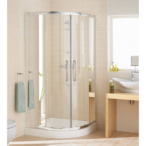 Lakes Mirror Single Rail Quadrant Shower Enclosure - 1000mm - Silver - Mirror Glass