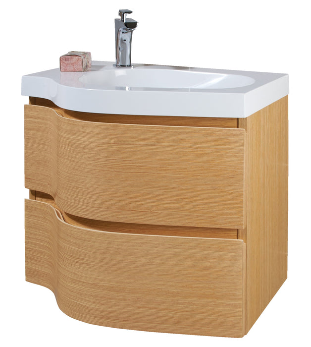 Phoenix Wave 600mm Beech Unit And Mineral Cast Basin