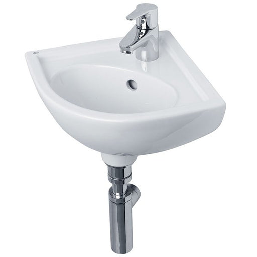 Essential LILY Corner Basin Only, 440mm Wide, 1 Tap Hole, White