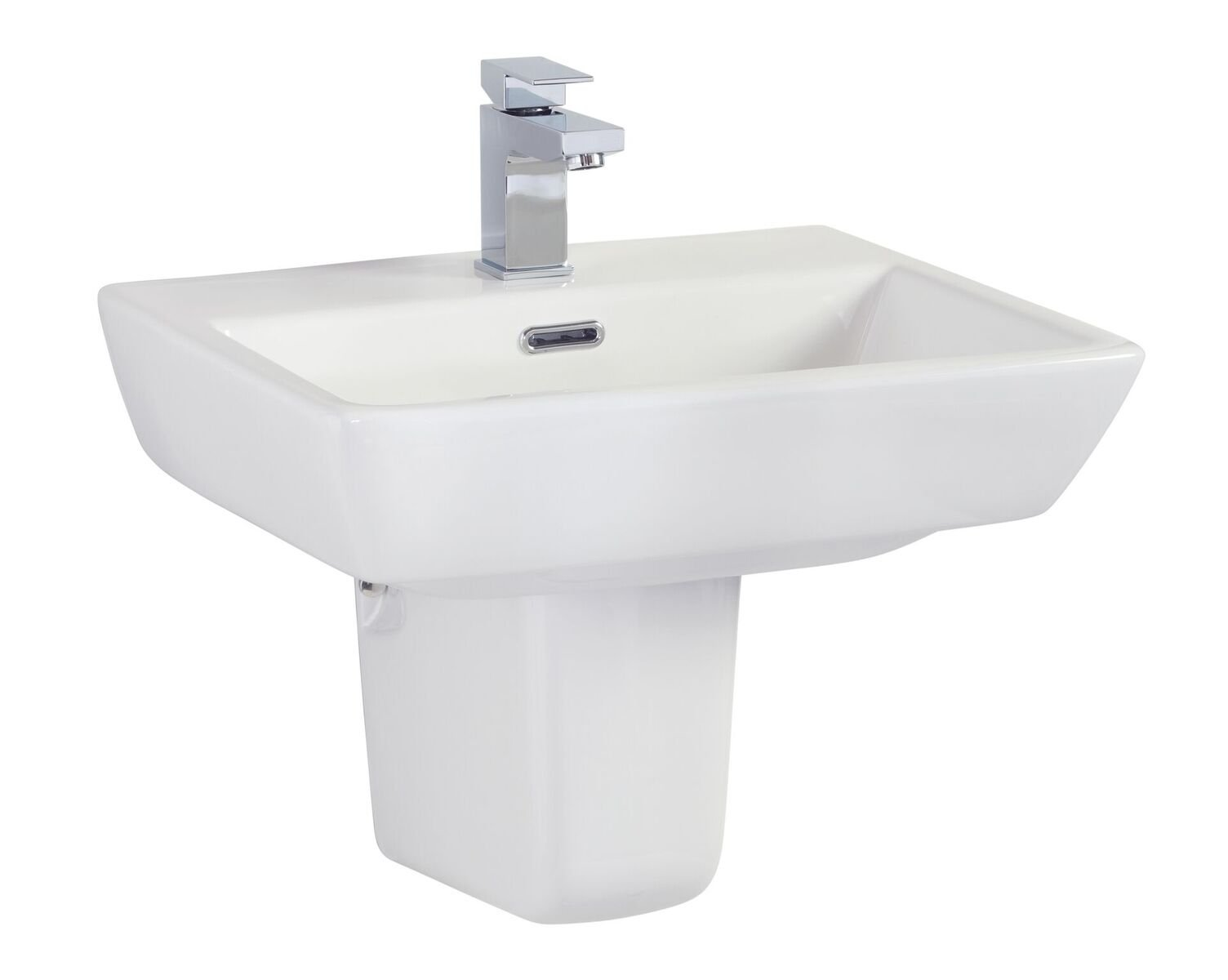 Cassellie Daisy Lou Basin with Semi Pedestal - 520mm Wide - 1 Tap Hole