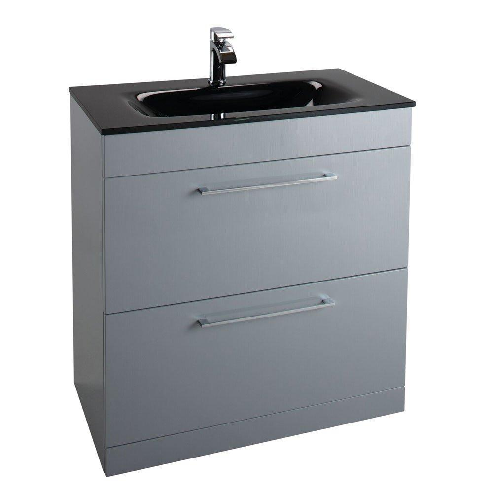 Cassellie Idon 2-Drawers Floor Standing Vanity Unit with Black Basin - 800mm Wide - Gloss Grey