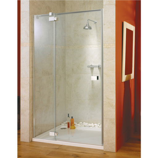 Lakes Italia Vittoria Hinged Shower Door with Inline Panel - 1400mm - Chrome - Clear Glass - Left Handed