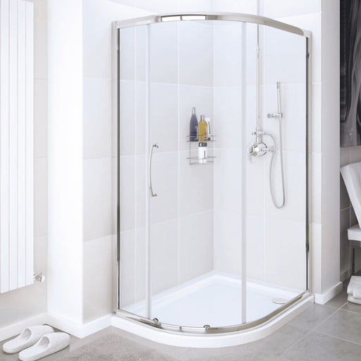 Lakes Classic Single Door Quadrant Shower Enclosure - 1000mm - Silver - Clear Glass
