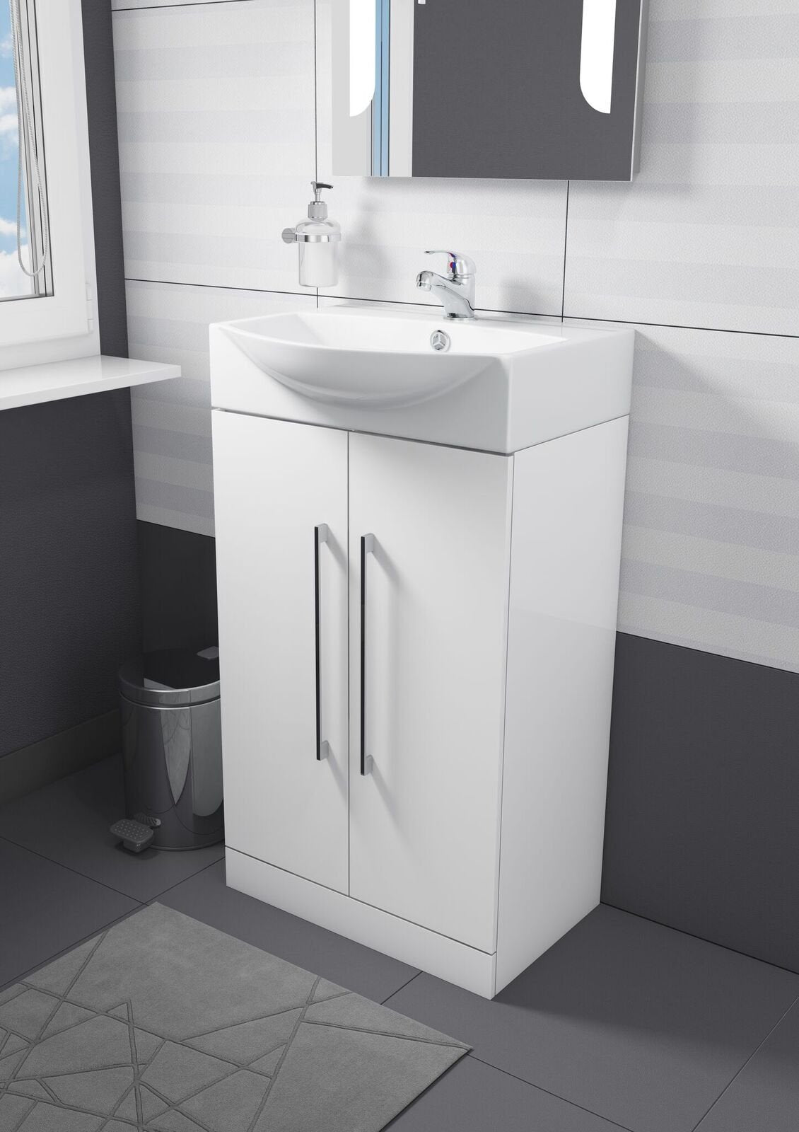 Cassellie ITE 500 2-Doors Vanity Unit with Basin - 500mm Wide - White