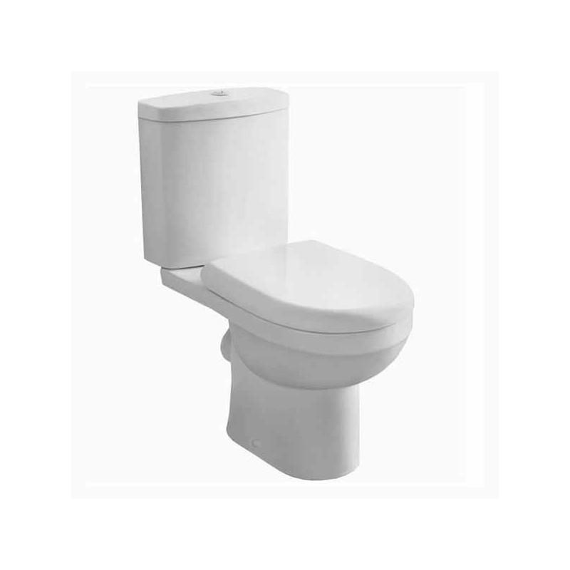 Cassellie Ivo D-Shaped Close Coupled Toilet with Push Button Cistern - Soft Close Seat