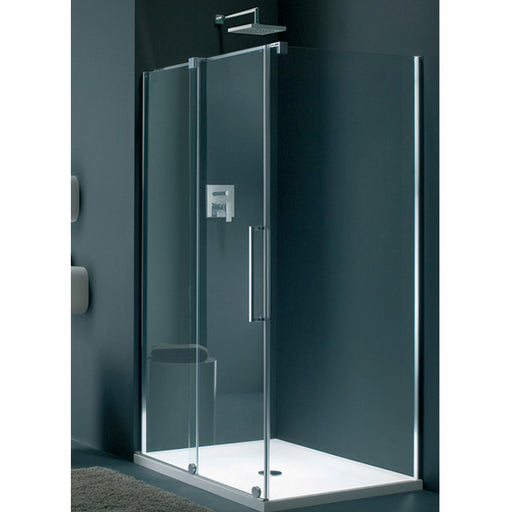 Lakes Italia Novara Sliding Shower Door - 1400mm - Silver - Clear Glass - Left Handed