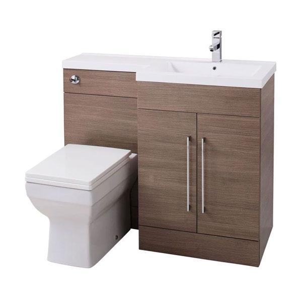 Cassellie Maze L-Shaped Combination Unit with Mid-Edge Basin - 1090mm Wide - Medium Oak - Right Handed