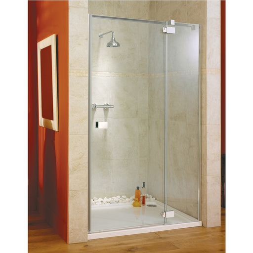 Lakes Italia Vittoria Hinged Shower Door with Inline Panel - 1400mm - Chrome - Clear Glass - Right Handed