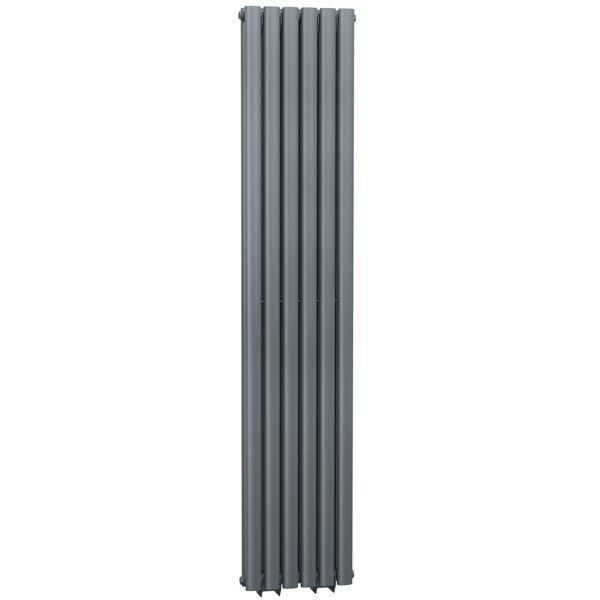Cassellie Celsius Double Panel Designer Vertical Radiator - 1500mm High x 354mm Wide - Anthracite