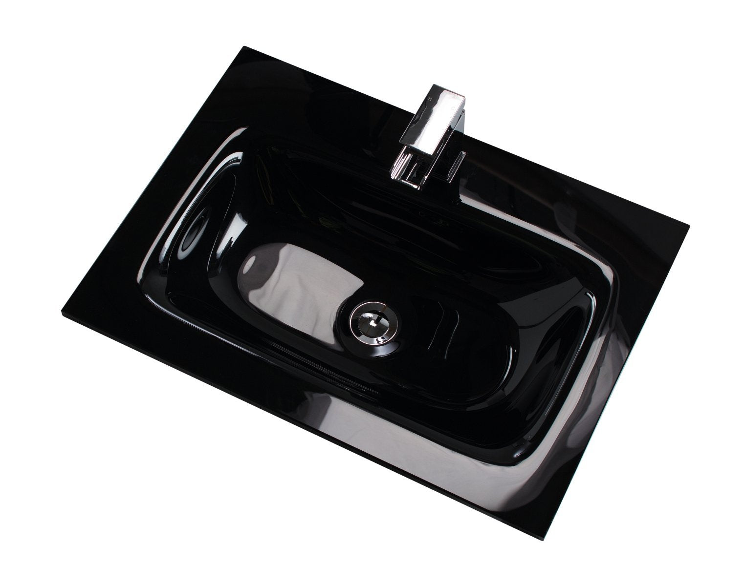 Cassellie Idon Black Style Glass Vanity Unit Basin - 810mm Wide - 1 Tap Hole - Black