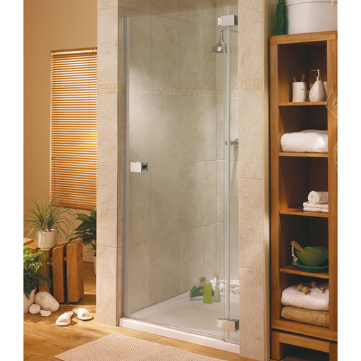 Lakes Italia Pesaro Hinged Shower Door - 900mm - Chrome - Clear Glass - Right Handed