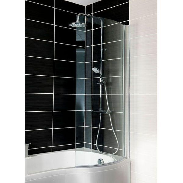 Cassellie Curved Bath Screen - 1400mm High X 695mm Wide - 6mm Glass