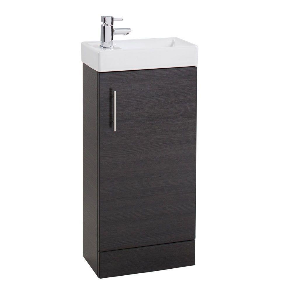 Cassellie Cube 1-Door Vanity Unit with Basin - 400mm Wide - Black Ash