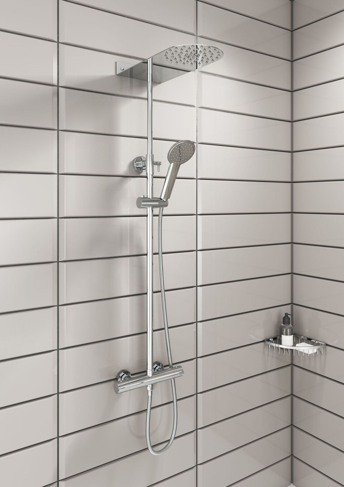 Cassellie Blade Round Thermostatic Complete Mixer Shower - Chrome