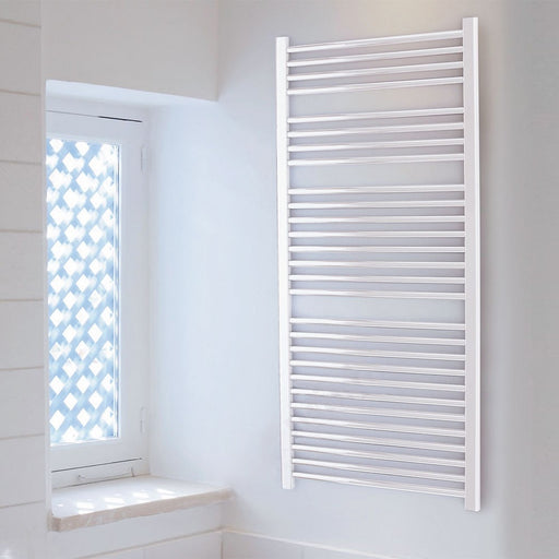 Essential Straight Ladder Towel Rail, 1430mm High x 500mm Wide, White