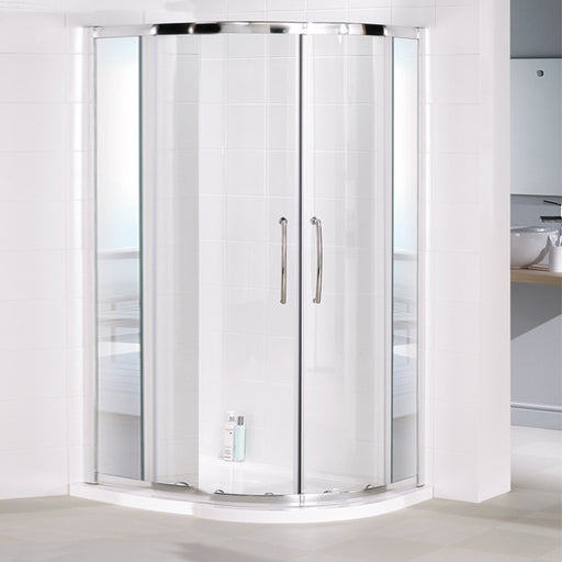 Lakes Mirror Single Rail Quadrant+ Shower Enclosure - 1000mm - Silver - Mirror Glass