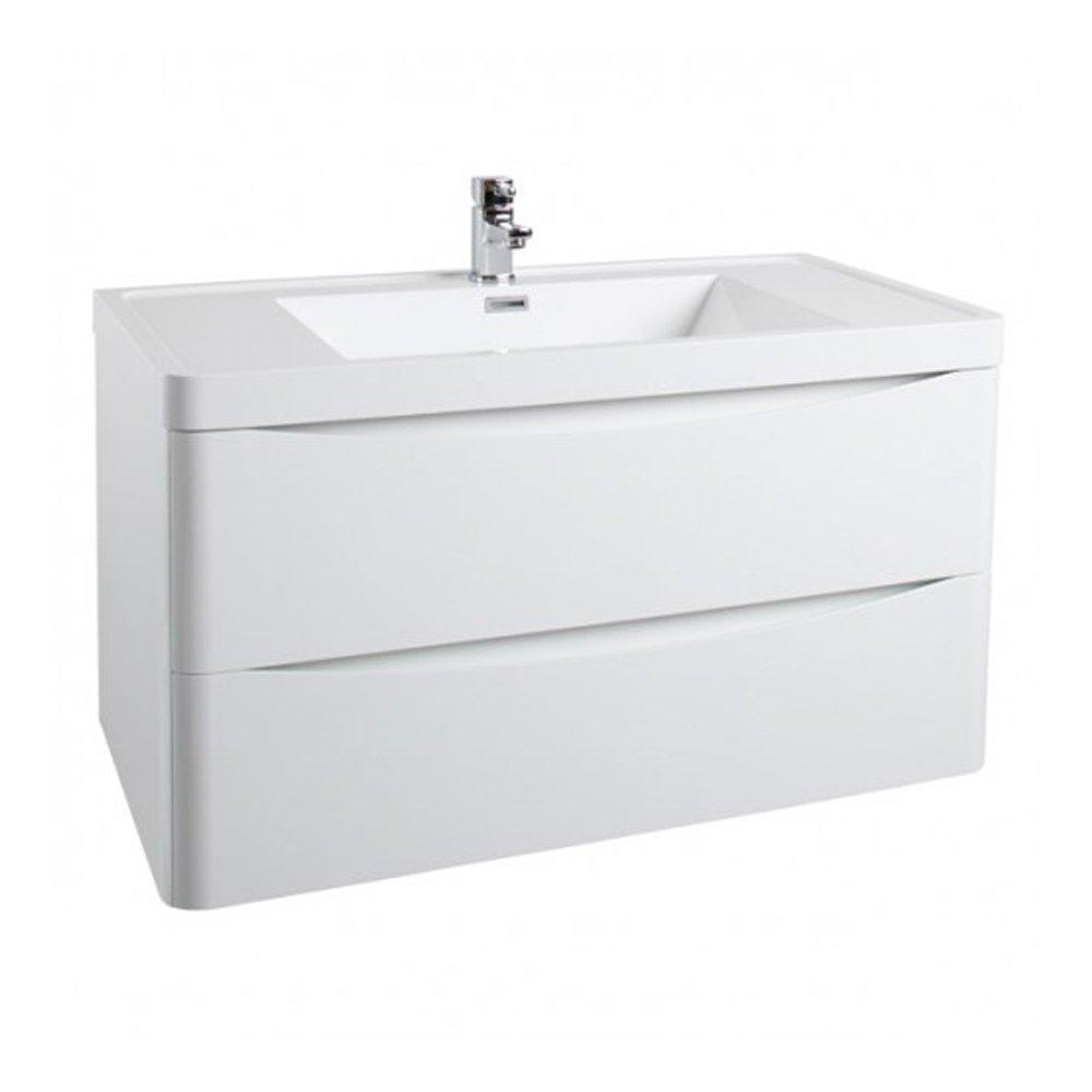 Cassellie Bali 2-Drawers Wall Hung Vanity Unit with Basin - 900mm Wide - Gloss White