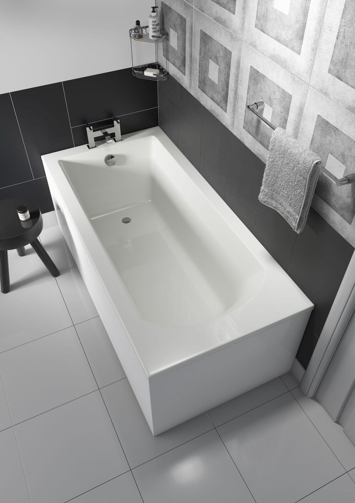 Cassellie Uno Rectangular Bath 1700mm x 750mm Single Ended