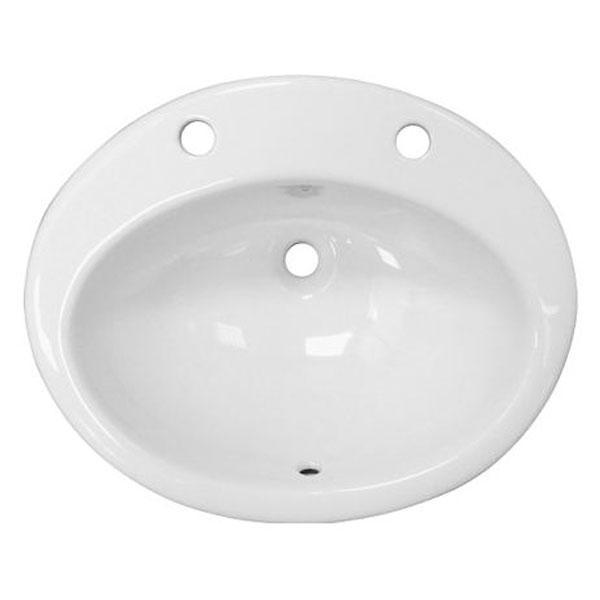 RAK Jessica Inset Countertop Basin 530mm Wide - 2 Tap Hole (inc Overflow)