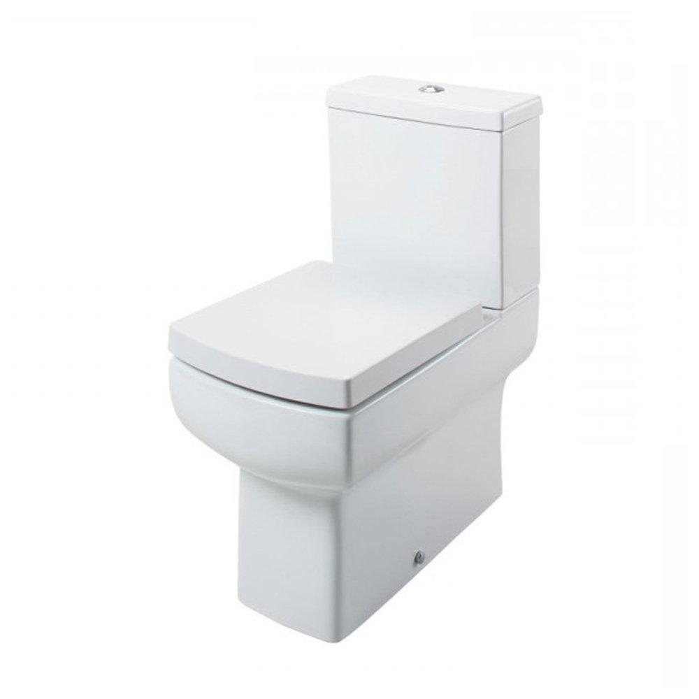 Cassellie Daisy Lou Back to Wall Close Coupled Toilet with Push Button Cistern - Soft Close Seat