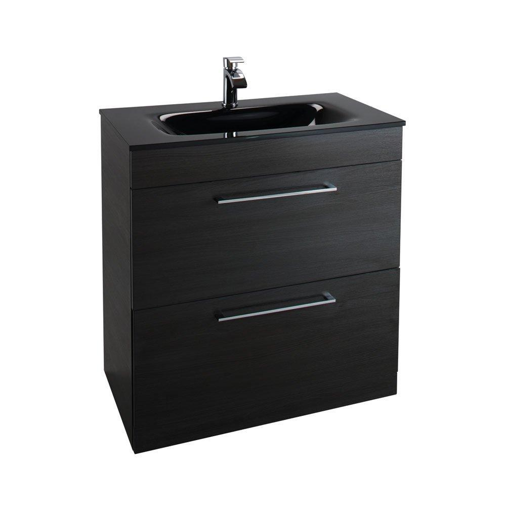 Cassellie Idon 2-Drawers Floor Standing Vanity Unit with Black Basin - 800mm Wide - Black Ash