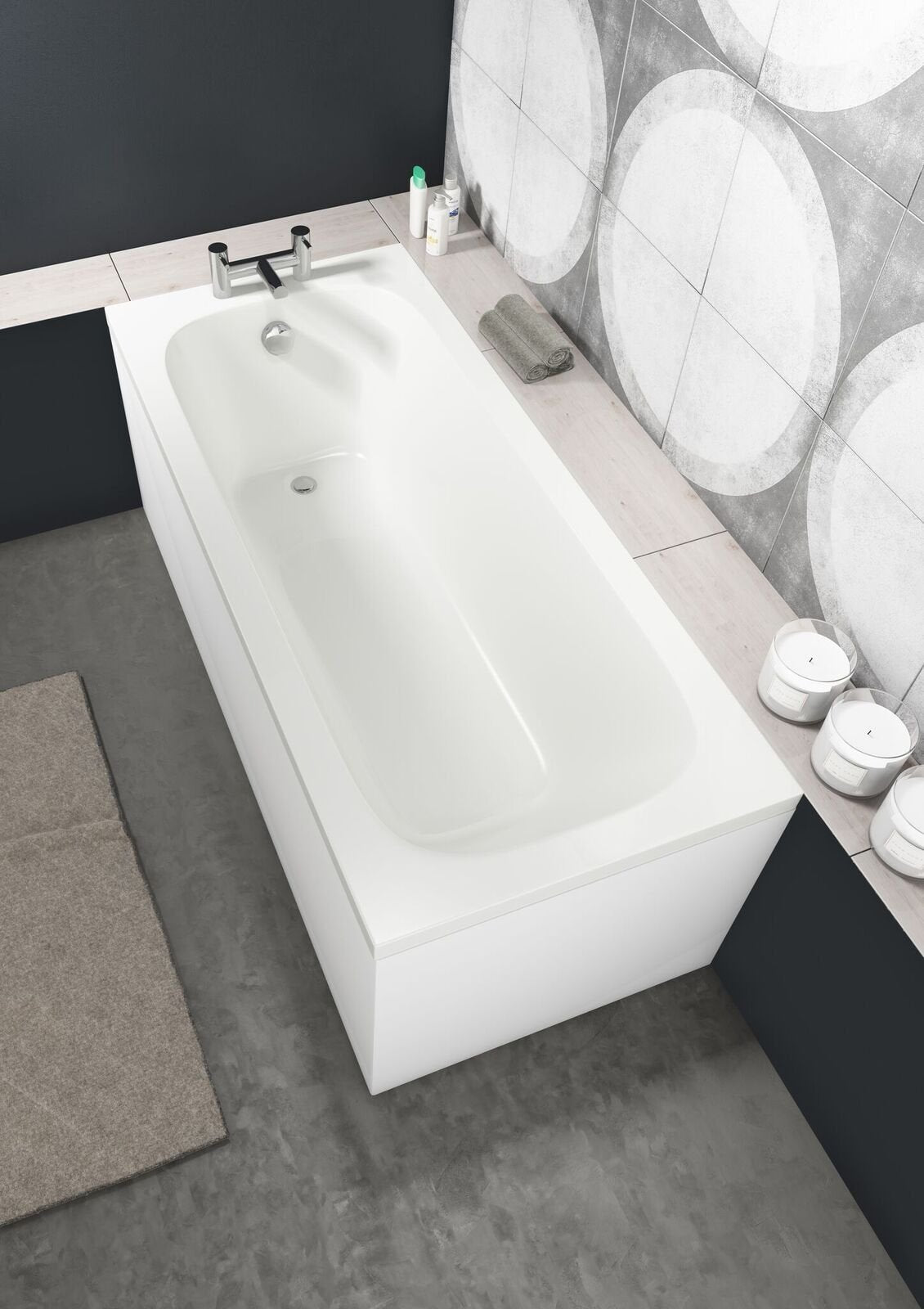 Cassellie Luton Rectangular Bath 1600mm x 700mm Single Ended