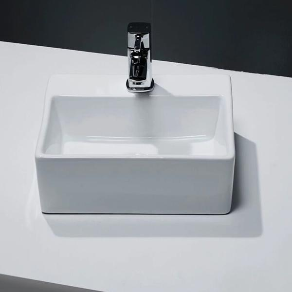 Cassellie Vessel Wall Hung Small Cloakroom Counter Top Basin - 330mm Wide - 1 Tap Hole