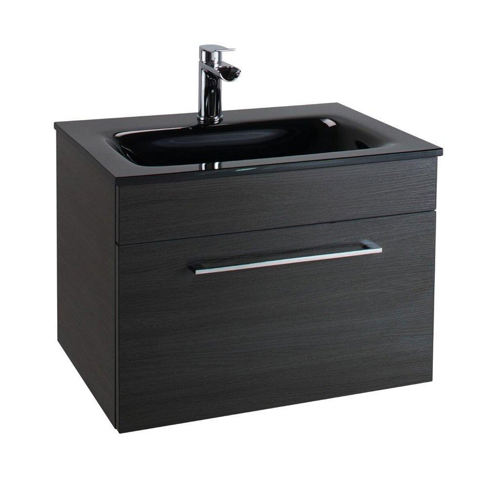 Cassellie Idon 1-Drawer Wall Hung Vanity Unit with Black Basin - 600mm Wide - Black Ash