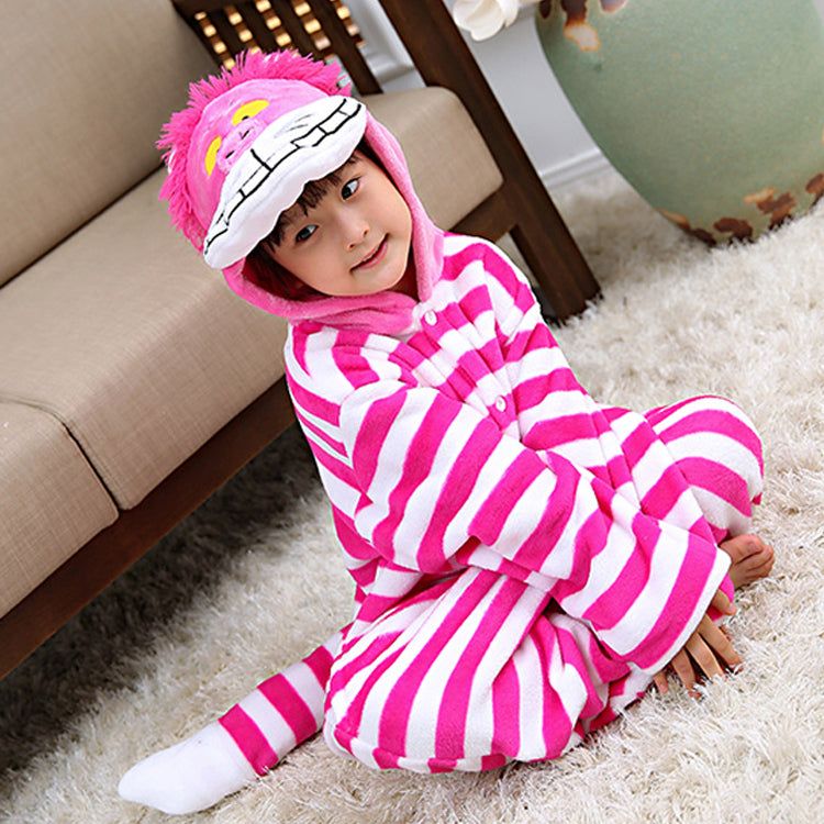 07ade57f8 ... Pink Cheshire Cat Kids Pajamas Onesie Flannel Animal Boys Girls  Halloween Costume for Children ...
