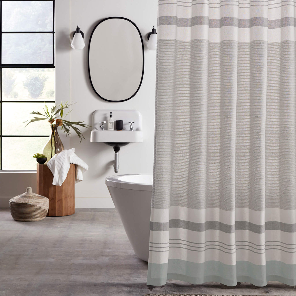 Simple Stripe Fabric Shower Curtain by Excell