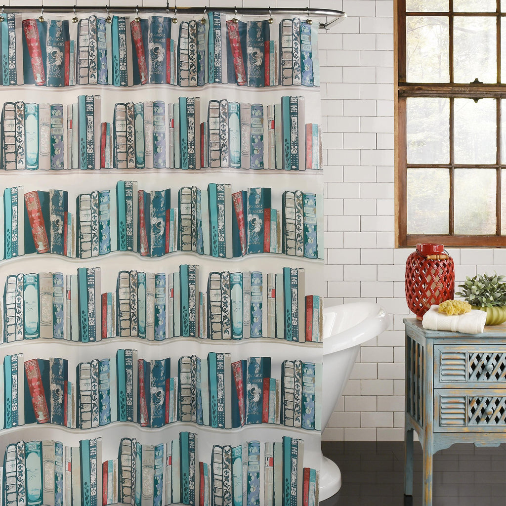 Bibliophile PEVA Shower Curtain by Excell