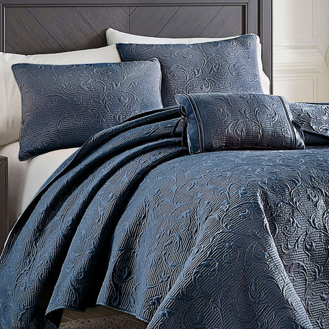 Cosette Dark Blue Quilt Collection