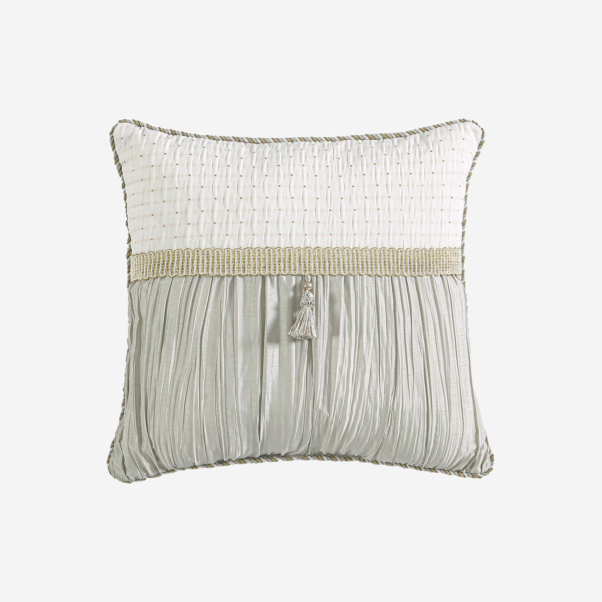"Everly 16"" x 16"" Reversible Fashion Pillow With Tassels"