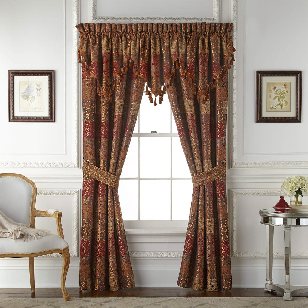 Galleria Red Curtain Panel Pair