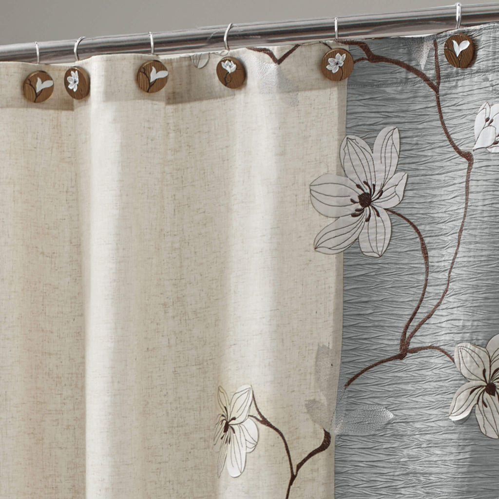 Magnolia Slate Grey Shower Curtain