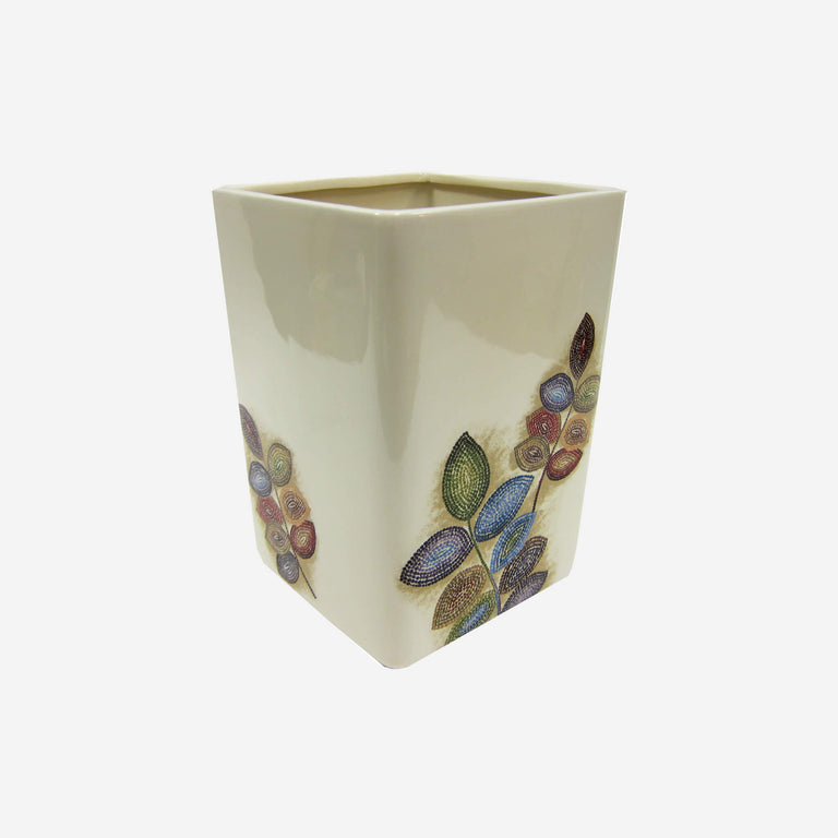 Mosaic Leaves Wastebasket